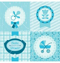 Boy baby shower invitation cards vector - by incomible on VectorStock®