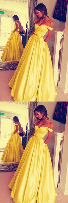 Yellow Off the Shoulder Long Prom Dress, Yellow Evening Party Dress by fancygirldress, $125.55 USD Ball Gowns Prom, Ball Dresses, Satin Dresses, Long Dresses, Sweet 16 Dresses, Pretty Dresses, Beautiful Cocktail Dresses, Pagent Dresses, Prom Dresses With Sleeves