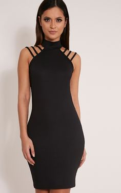 Joslyn Black High Neck Strap Detail Bodycon Dress Image 1