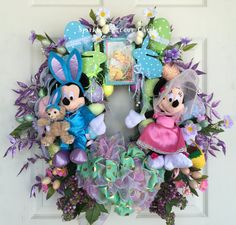 Disney Easter Wreath, Mickey and Minnie Easter Wreath. These are the new 2015 Easter Parade Mickey and Minnie Mouse plush from WDW. Love