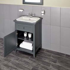 Savoy Charcoal Grey 600 basin unit - with 2 tap hole basin image 4 Small Bathroom Furniture, Bathroom Sink Units, Bathroom Niche, Downstairs Cloakroom, Bathroom Ideas, Charcoal Bathroom, Latest Bathroom Designs, Inset Basin, Wooden Magazine Rack