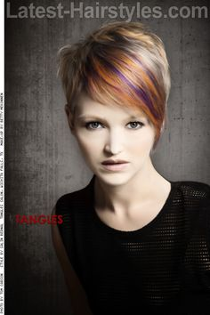 Like the style...not the color! Angled Pixie Haircut with Long Bangs