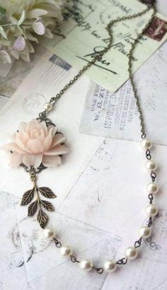 Blush Pink Rose, Ivory Pearls, Antiqued Brass Leaf Vintage Style Flower Necklace