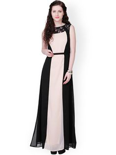 Buy Eavan Beige & Black Polyester Georgette Maxi Dress - Dresses for Women 958048 Formal Dresses With Sleeves, Formal Dresses For Weddings, Blue Dresses, Short Dresses, Dresses For Work, Dress Outfits, Fashion Dresses, Gowns Online, Pink Fashion