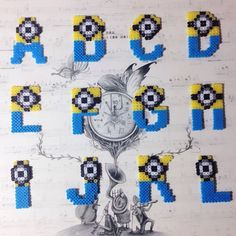 Minion alphabet A-L  hama perler beads by chittyqy