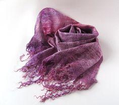 Cobweb Felted scarf   Lavender purple amethyst magenta by galafilc, $73.00