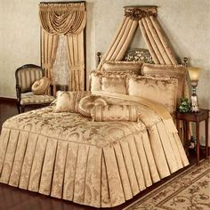 Napoleon Tailored Oversized Gold Bedspread Bedding (might be too gold...)