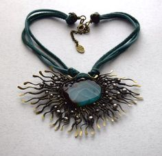 Handmade brass wire necklace with blue and green agate by BikiLine