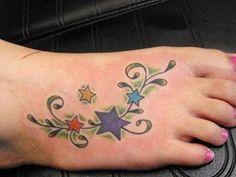 stars feet tattoos color