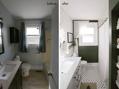 Bathroom Tour (Before + After) - A Beautiful Mess Kids' bathroom layout option Bathroom Tour (Before + After) – A Beautiful Home Depot, Contemporary Small Bathrooms, Modern Bathroom, Bathroom Before After, Budget Bathroom Remodel, Small Bathtub, Sweet Home, Small Apartment Design, Guest Bathrooms