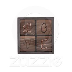 L O V E   Trinket Box Premium Gift Boxes ~ Chocolate brown colored squares with the letters L O V E on the squares are featured on this charming trinket box.
