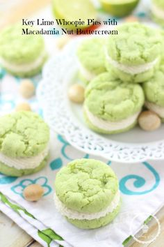 KEY LIME WHOOPIE PIES WITH MACADAMIA NUT BUTTER BUTTERCREAM. These are unbelievable!