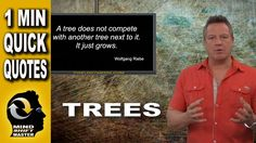 """Trees: 1 Minute Quick Tips with Wolfgang Riebe Mind shift master, Wolfgang Riebe expands on the meaning of his original quote, """"A tree never tries to compete..."""