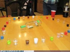 Shot Roulette drinking game! Not all shots are alcohol. You take a spin and take what you get!