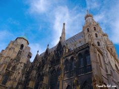 North Side of Saint Stephan Cathedral with Gothic Styling and Water Cap on South Tower. Saint Stephen's Cathedral Vienna, Austria