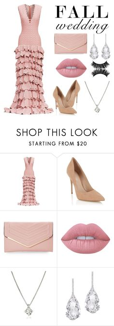"""Pink wedding"" by the-face-of-style ❤ liked on Polyvore featuring Lipsy, Sasha, Lime Crime, Forzieri, Plukka and fallwedding"