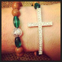 Sideways Cross Bracelet Set with Natural Stone by AroundMyWrist, $20.00