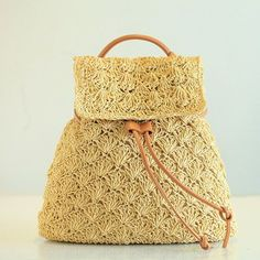 2017 Straw Backpack Drawstring Straw Bag Hollow Out School Bag Knitting Backpacks Manual Made Tote Beautiful Beach Bag Bagpack