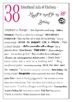 38 Intentional acts of Kindness - My gift to myself for my 38th Birthday