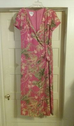 Beautiful faux wrap dress with back zipper. Size 12. Feels like silk but it's polyester. Dry Clean Only. Fully lined. Short sleeves. Length is approximately 52 inches. Underarm to underarm is approximately 20 inches. | eBay!