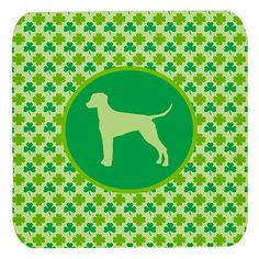 Set of 4 Dalmatian Lucky Shamrock Foam Coasters