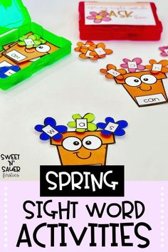 Your kindergarten, first grade, and second grade students will love my hands-on sight word activities that are themed for spring! This resource covers the Fry First 100 words, and is perfect for using in small reading groups or during word work centers. This resource is easy for teachers to prep, just print and go!