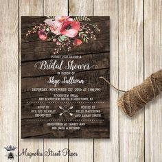 Poppy Bridal Shower Invitation, Floral Bridal Shower Invite, Boho Floral Bridal Shower Invite, Rustic Barn Wood Bridal Shower Invitation