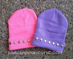 Studded Beanie Hat Choose Your Hat Color Heart by ShopChicStud