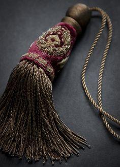 Cordelia key tassel is hand-embroidered with metal thread on Capri silk velvet - loganberry.
