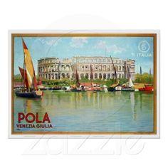 Vintage Pola Pula Roman theatre amphitheatre colosseum Italian travel Poster (nowadays Croatia)