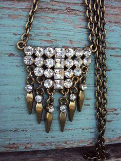 Vintage Style Necklace Crystal Rhinestone Pendant Antique Brass on Etsy, $29.99