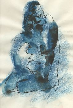 "Título: ""Inquietud azul"" Autor: Ramiro Beltrán Twitter: @rabeltm Técnica: pastel y tinta sobre papel"
