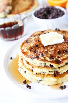 Orange Ricotta Chocolate Chip Pancakes - Two Peas & Their Pod   These look good.
