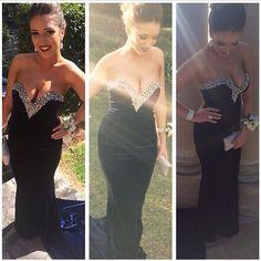 159.90$  Watch here - http://vixmg.justgood.pw/vig/item.php?t=67zjd912392 - Sweetheart Neck Black Chiffon Prom Dresses Crystald Floor Length Women Dresses