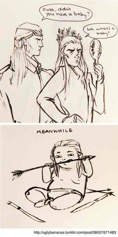 """Thranduil & baby Legolas :D <--- GRRRRRRRRRRRRRRRRRRRRRRRRRRRRRRRR THIS MAKES ME SO MAD HOW COME PEOPLE CAN'T JUST LOOK AT ALL OF THE FACTS ALL THEY SEE IS THE FACT THET HE DIDN'T LET LEGOLAS DATE TAURIEL AND THEY JUST""""OVERLOOK"""" THE FACT THAT HE RAISED LEGOLAS ALL BY HIMSEF AND CANT THEY SEE HOW MUCH HE LOVES LEGOLAS?"""