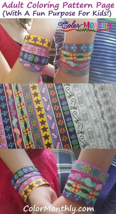 Free Printable PDF :)  http://www.colormonthly.com/adult-coloring-pattern-page-turns-into-printable-paper-bracelets/