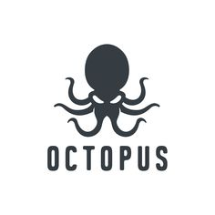 Template for logos, labels and emblems with white silhouette of octopus. Team Logo Design, Logo Design Services, Kraken Art, Creating A Business, Art Icon, Coat Of Arms, Business Logo, Retro, Tool Design