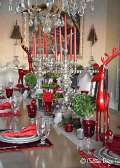 Christmas tablescape with a Pier 1 Tiered Glass Platter centerpiece