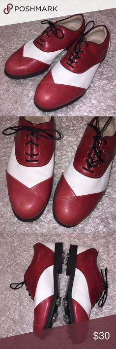 Foot Joy Golf Shoes In great condition, worn minimally. Size 8. Red white and black. Feel free to ask any questions. NO trades/ model photos sorry. Offers thru offer button only. Items ship same day M-F if purchased before 2pm PST! :) x Footjoy Shoes