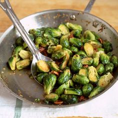 Sauteed Brussels Sprouts with Pecans: a side for the roast beef. #saveur #dinnerparty