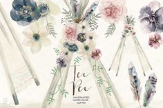 Watercolor tee pee, floral feathers by GrafikBoutique on Creative Market
