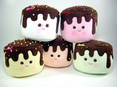 Chocolate covered marshmallow plushies! So cute!