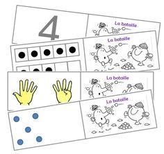 La bataille :  des cartes sur lesquelles sont écrits les nombres de 1 à 10 de différentes façons (points, doigts, chiffres...).