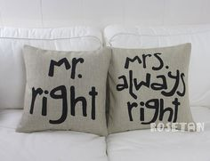 1 pair linen black lover present Mr RIGHT & Mrs always by rosetan, $28.00