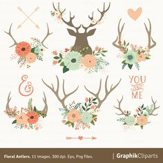 FLORAL ANTLERS    These are the perfect graphics to create your Wedding Invitations, Save the Date Cards, Bridal Shower Invitations,