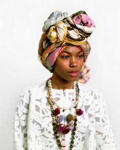Beautiful colorful headwrap and jewelry