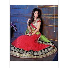 Red Net Lehenga Choli with Embroidery Work Net Lehenga, Lehenga Choli Online, Indian Wedding Outfits, Indian Outfits, Indian Sarees Online, Tulle, Stylish, Lady, How To Wear
