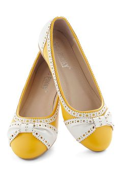 How About Wow? Flat in Sunflower - Yellow, White, Menswear Inspired, Flat, Faux Leather, Work, Casual, Daytime Party, Variation, Top Rated