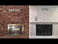 Brick-Anew Fireplace Paint Kit is an easy, affordable solution to transform old ugly brick fireplace and achieve a new, real brick look. Lighten and Brighten you fireplace today! makeover before and after Fireplace Paint Kit White Wash Brick Fireplace, Painted Brick Fireplaces, Fireplace Update, Brick Fireplace Makeover, Old Fireplace, Farmhouse Fireplace, Fireplace Design, White Wash Brick Exterior, Brick Fireplace Remodel