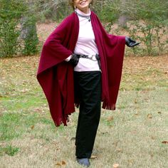 Burgundy Wrap or Shawl in Anti Pill FleeceOne Size by youngbear, $32.00